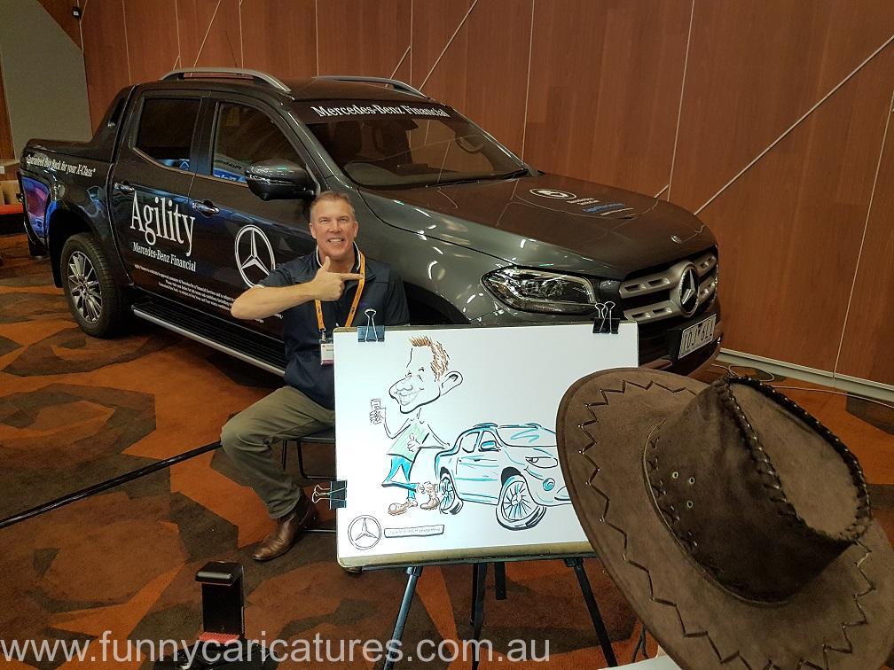 Car Caricature Melbourne Live Event Mercedes Benz Australia Trade Show Cartoonist Caricatures for Daimler Fleet Management Caricature Artist 3
