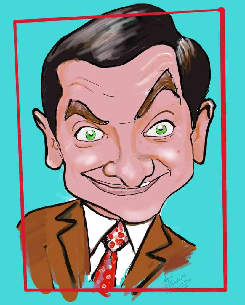 Caricature of Mr Bean in Melbourne By Caricature Artist Cartoonist